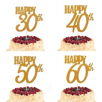 ay 30 40 50 60th Age Cake Topper Adult Cupcake Party Supply (Happy Birthday Cupcakes)