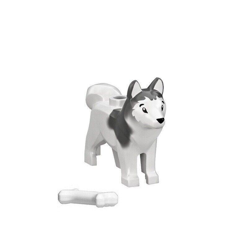 LEGO HUSKY SLED DOG White /& Gray Arctic w//Bone 60036 Minfigure Pet Animal New