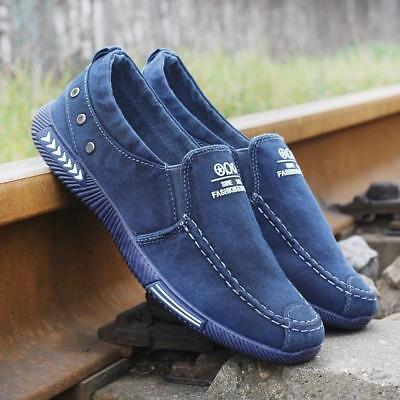 Men's Casual Canvas Shoes Loafers Breathable Flats Driving Boat Slip On (Mens Canvas Slip On Shoes)