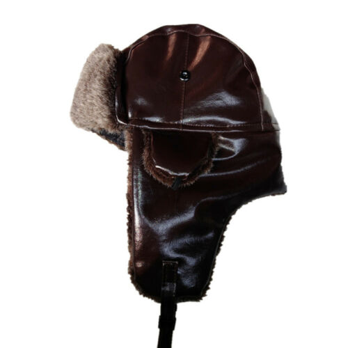 Leather Winter Trapper Aviator Trooper Earflap Warm Ski Cap Hat For Men Women