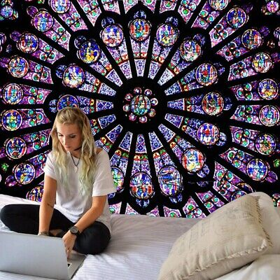 Boho Polyester Paris NOTRE DAME CATHEDRAL WINDOW TAPESTRY WALL HANGING Beddings  Notre Dame Bedding