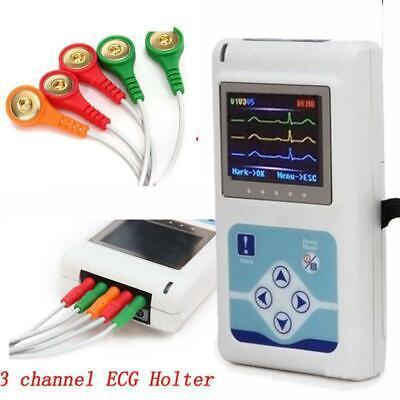 24 Hours Ecg Holter Cardiac Monitor Portable Dynamic Ekg Recorder 3 Channels Sw