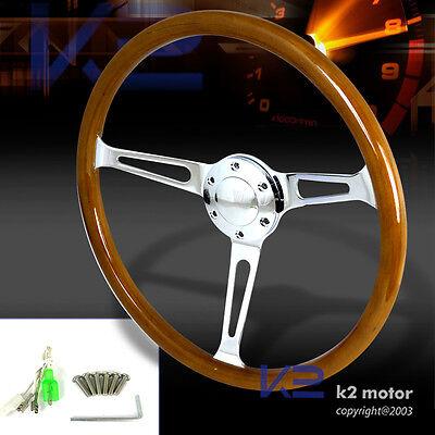 "Polished 370mm Wooden Steel Style Wood Steering Wheel 2"" Deep w/Horn Button"