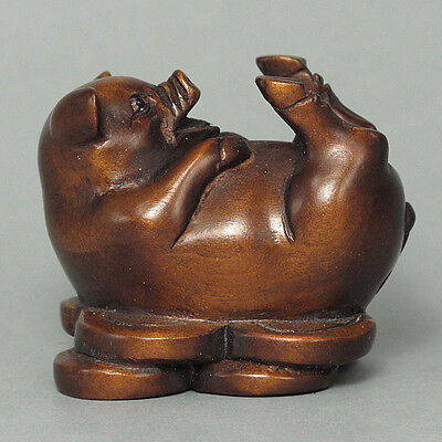 Japanese 1940's Netsuke Boxwood Wood Pig Figurine Carving WN624