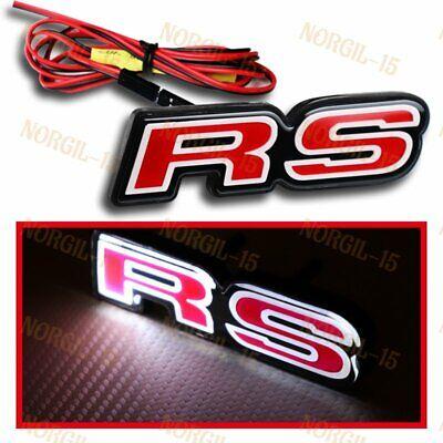Red RS Front Hood Grille Badge Emblem LED Light for Chevrolet Camaro Ford Focus