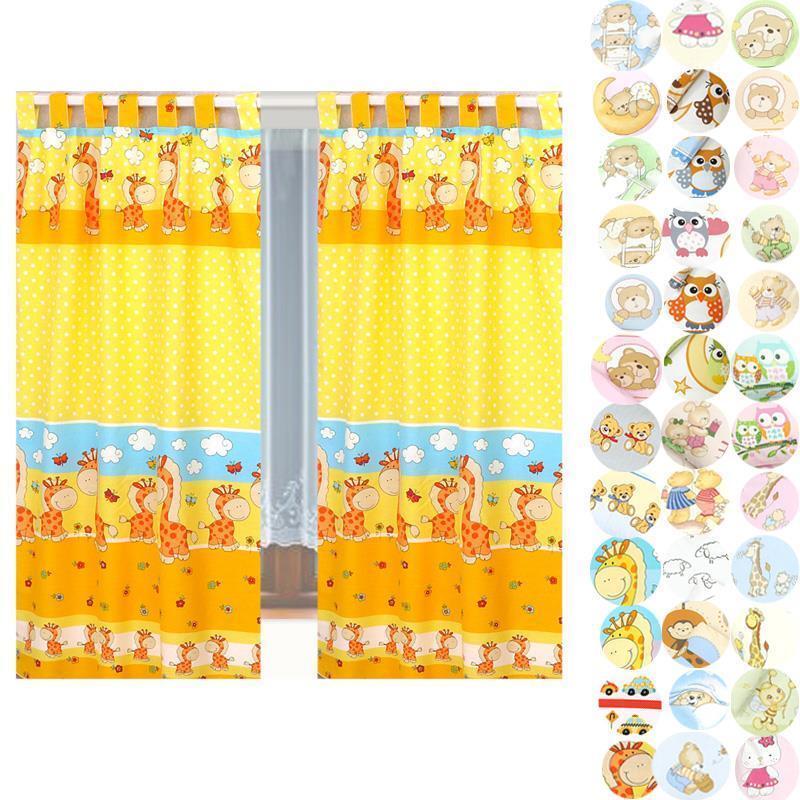 Set Kinderzimmer Vorhang 155x95cm (2 Stück) Gardinen Vorhänge mit Schlaufen Baby