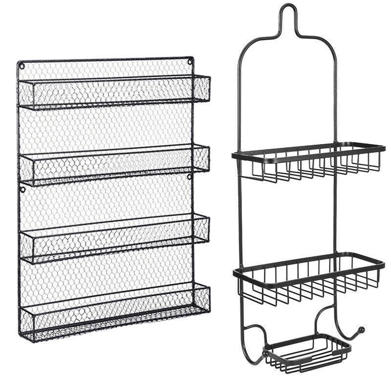 Spice Rack Organizer Metal 4 Shelves Wall Mount Pantry Kitch