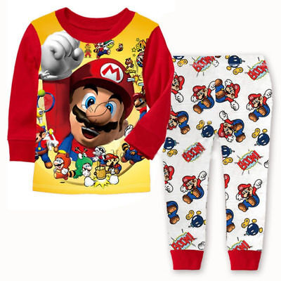 Supper Mario Bros Costume Pajama Set Kids Baby Boy Clothing Cotton T-shirt+Pants](Mario Boys Costume)