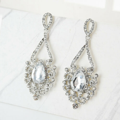 Fashion Design Luxury Alloy Rhinestone Glass Wedding Party Ear Stud Earrings