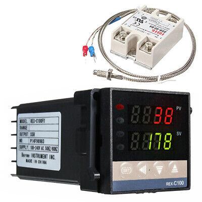 100-240v Rex-c100 Digital Pid Temperature Controller 40a Ssr K Thermocouple
