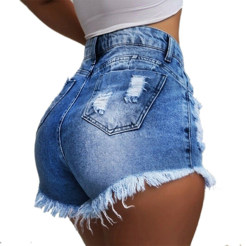 Damen Jeans Kurze Hose Hohe Taille Röhrenjeans Hüftjeans Hotpant Shorts Bermudas