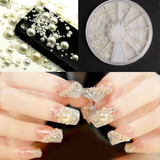 Fashion Women Acrylic Pearl Gem Glitter Manicure 3d White Nail Art ...