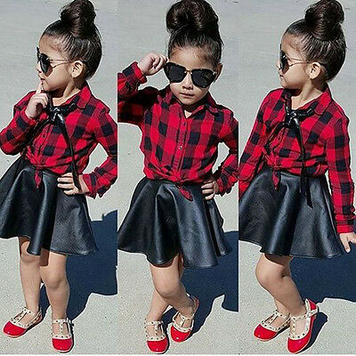 USA Boutique Toddler Kids Girl Plaid Tops Shirt Leather Skirt Dress Outfits Set