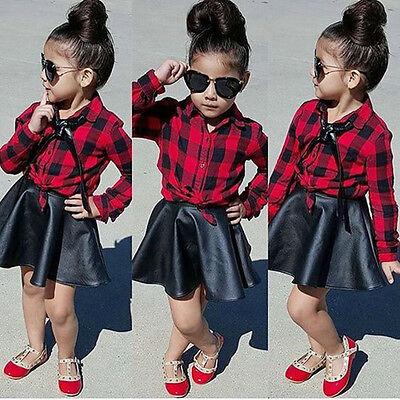 USA Toddler Kids Girls Plaid Tops Shirt Leather Skirt Dress Outfits Set - Childs Tartan Dress