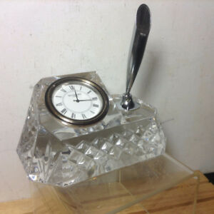 Waterford Crystal Desk Top Clock Pen Holder Paperweight