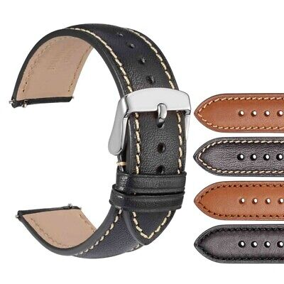 WOCCI 18mm 20mm 22mm Full Grain Leather Watch Strap Quick Release