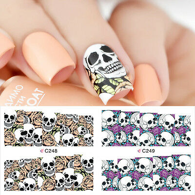 Nail Art Water Decals Full Wraps Transfer Purple Red Halloween Skulls Gel Polish](Purple Halloween Nail Art)