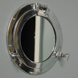 Silver Metal Porthole Nautical Wall Mirror Shabby Vintage Chic Bathroom Home