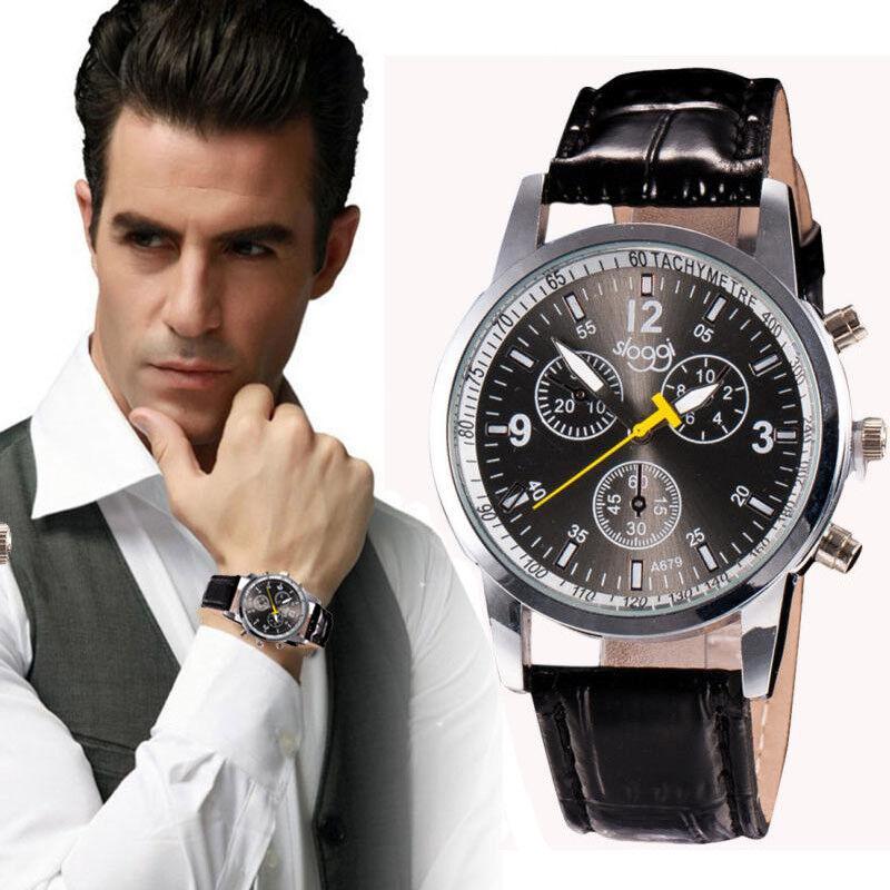 $1.89 - Men Luxury Fashion wrist Watches Crocodile Faux Leather Analog Watch Black cheap