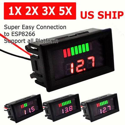 Led Digital Voltmeter Car Marine Motorcycle Voltage Meter Battery Gauge 12v-60v