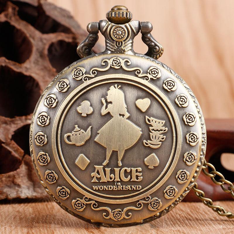 Vintage Alice in Wonderland Flower Girl Women Quartz Pocket Watch Gift Necklace