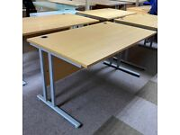 FREE SAME DAY DELIVERY - Cantilever Beech Rectangular Office Desk, 1400mm by 800mm