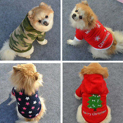 PET DOG CHRISTMAS CLOTHES COSTUMES PUPPY CAT KNIT SWEATER COAT HOODIE (Cat Costumes Pet)