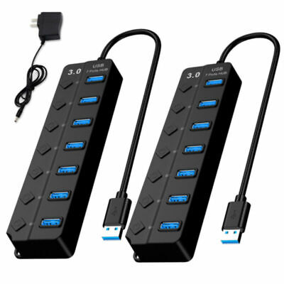 7Ports USB 3.0 HUB Power High Speed Splitter Extender Cable AC Adapter...