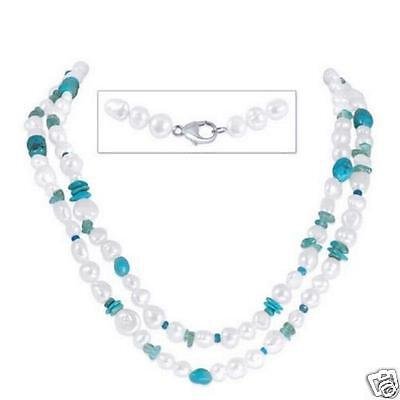 "HONORA COLLECTION  40""in. Pearl Necklace with Gemstones, Turquoise & .925 Clasp"