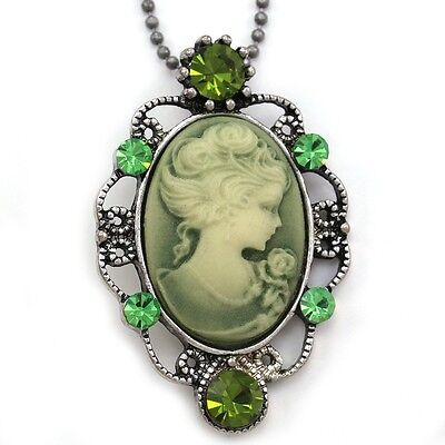 Lime Green Cameo Pendant Necklace Charm Antique Vintage Style Retro Designer y1 1 Cameo Pendant Necklace