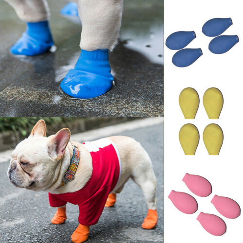 4pcsSet Dog Rain Boots Waterproof NonSlip Socks Paw Protection Rubber Shoes w