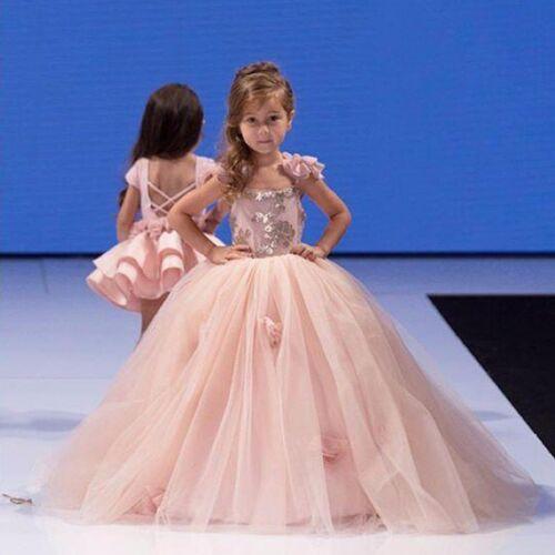 ABAO Children Girls Pink Sequins Elegant Floor Length Ball Gown Tulle Dress ZG8