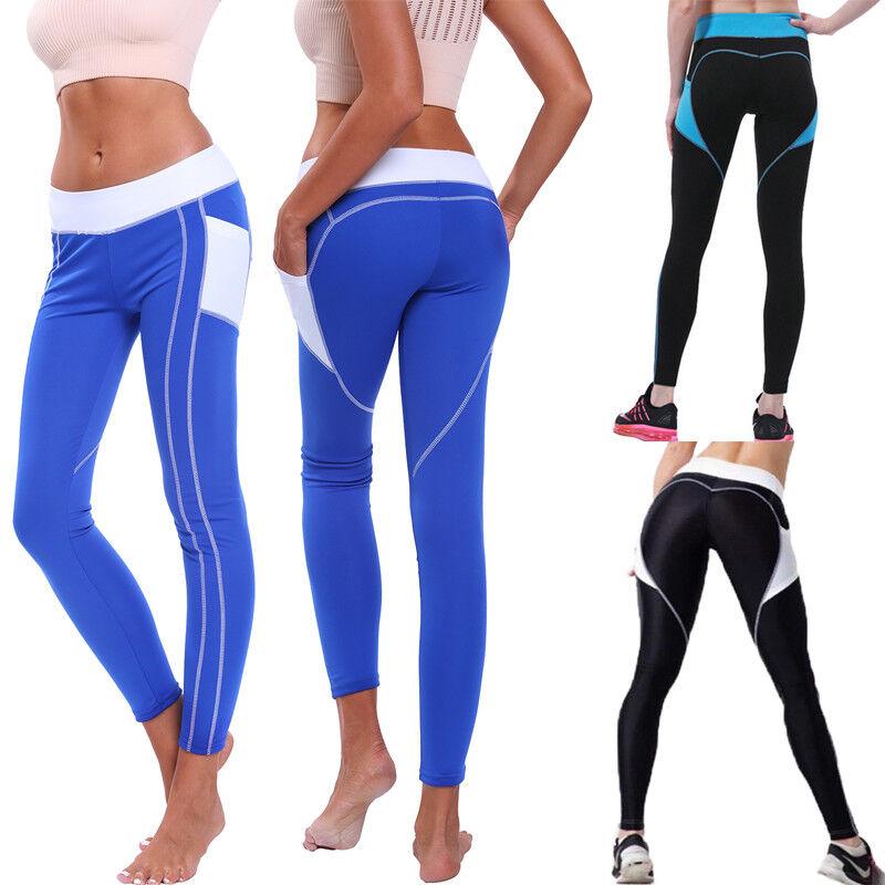 Damen Leggins Yoga Langhose mit Seitentaschen Bauchkontrolle Hochbund Leggings 0