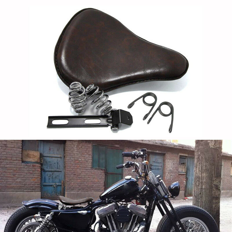 Solo Leather Seat With 3''Spring Bracket Mounting Kit For Harley Chopper Bobber