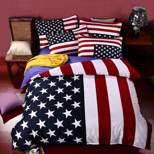 Bedding Set of American Flag USA or UK 100% Cotton Queen King Size Sheets Duvet