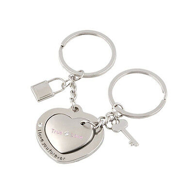 1 Pair Awesome Love Heart Lock Key Chain Ring Keyring Keyfob Lover Couples GifGG - $6.13