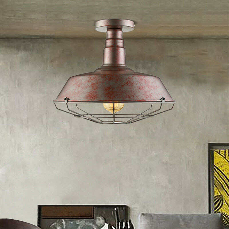 Industrial Rustic Cage Ceiling Light Semi Flush Mount Lamp Pendant Light Fixture