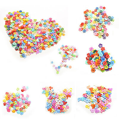 100 Pcs Mixed Color Buttons 2 Holes Children's DIY Crafts 10mm 6 ShapesJ&C