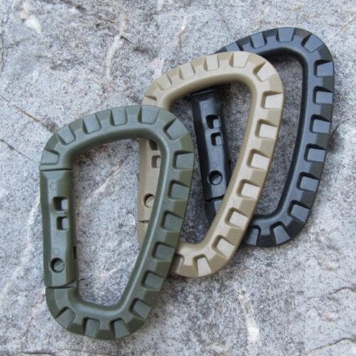 3Pcs Tactical Carabiner Keychain Clip D Shaped Carabiners Ba