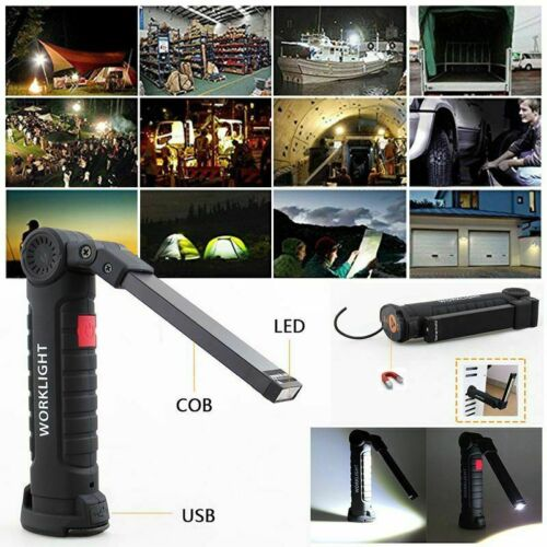 USB COB LED Magnetic Work Light Car Mechanic Home Rechargeable Torch Lamp Yc