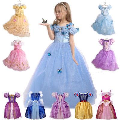 Kids Princess Anna Elsa Dress Fancy Costume Girls Party Xmas Cosplay Clothes  Dz