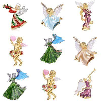 Christmas Angel Series Crystal Brooch Pins Xmas Costumes Wedding Woman Jewelry