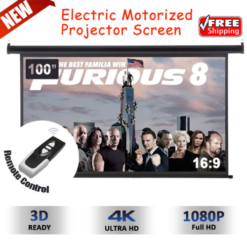 """100"""" 16:9 FHD 1080P Electric Motorized Projector Screen Movi"""
