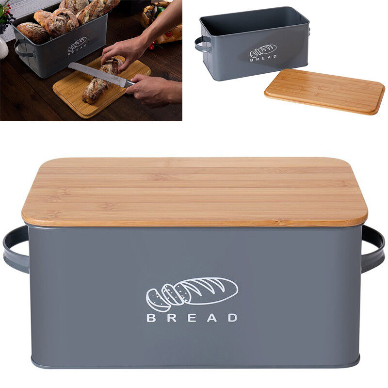 GA Metall Brotbox mit Bambus-Deckel Brotkasten Brotbehälter Brot-Kiste Brotdose