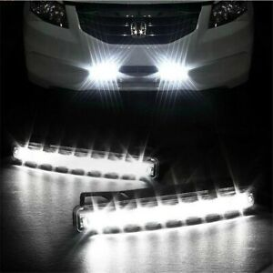 Car Light 8 LED DRL Fog Driving Daylight Daytime Running White L
