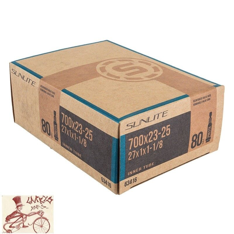 Sunlite Standard Presta Valve Tubes, 700 x 23 - 25  / 80mm,