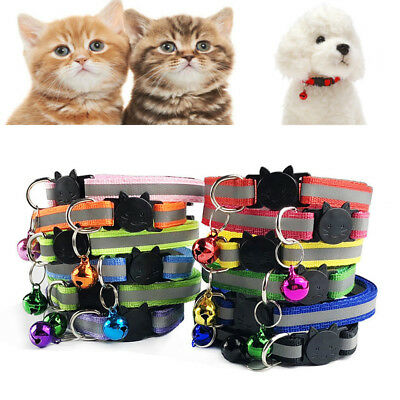 Stripe Dog Collar Nylon Adjuatable Pet Cat Collar with Bell Necklace Hot