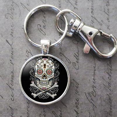 Charm Sugar Skull Glass Cabochon Key Chain Pendant Accessories Jewelry