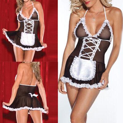 Sexy Damen Kostüm Cosplay Französisches Dienstmädchen Lingerie Outfit - Lingerie Kostüm