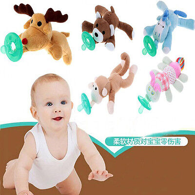 Funny Baby Animal (Baby Silicone Pacifiers with Plush Animal Toy Personalized Funny Pacifier)